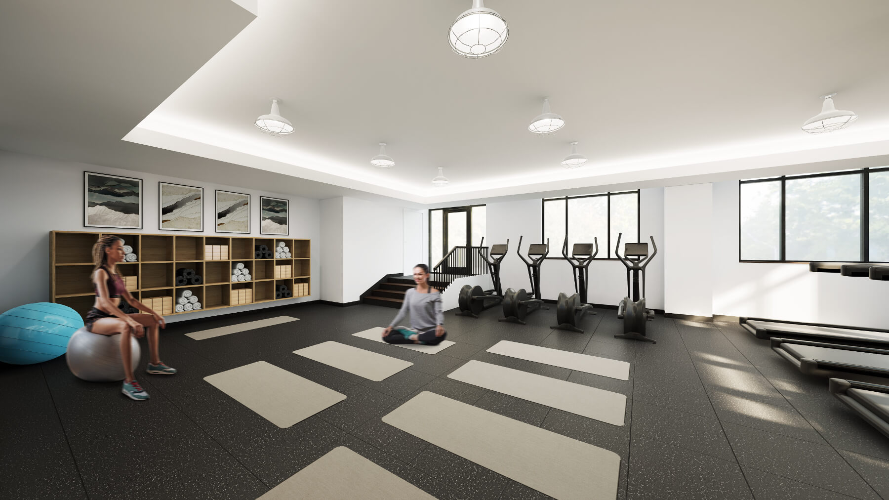 A state-of-the-art health and fitness center is equipped to support everything from mat workouts to strength training to cardio sessions.